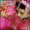 bossymarmalade: woman in pink sari (next: paratha and laddoo)