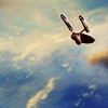 sineala: The Enterprise (Star Trek: TOS) flying into the clouds (enterprise)