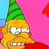 bossymarmalade: abe simpson hating his party hat (give *me* a slice!!)