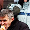 bossymarmalade: george clooney eats a hot dog (food glorious food)