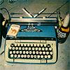 wishfulclicking: typewriter and drink (writing: typewriter)