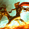 mjolnir_retriever: Loki and Thor fighting on the Bifrost, all dramatically lit and comicsy-looking (brothers in battle)