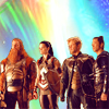 mjolnir_retriever: Volstagg, Sif, Fandral, and Hogun, with a rainbow arching over them (comrades in arms)