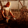 mjolnir_retriever: Thor covered in mud and rain, staring despairingly at Mjolnir lodged in rock (rainscene of muscular despair)