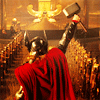 mjolnir_retriever: Thor raising his hammer before ranks of guards in Odin's throne room (crowned prince)