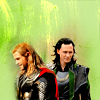 mjolnir_retriever: Thor and Loki side-by-side, looking away from each other, amid green light (brothers: Odin's heirs)