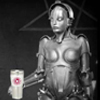 sasha_feather: robot woman holding OTW mug (OTW maria)
