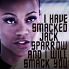 fish_echo: Uhura (Star Trek Reboot) looking stern with text: I have smacked Jack Sparrow and I will smack you (Fandom-Reboot-Uhura smacks)