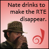 thedivinegoat: Picture: Nate from Leverage - Text: Nate drinks to make the RTE disappear. (Leverage - Nate drinks to make the RTE d)