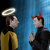 tehkittykat: data and lore as the good and bad shoulder angels (trek; shoulder datas)