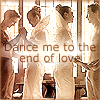 copracat: leto and ghanima from Children of Dune, dancing, with the text 'dance me to the end of love' (ghanima)