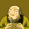 syntheid: [Avatar: TLA] Iroh glancing to the side with noodles hanging out of his mouth, clutching a noodle bowl. (what's going on?)