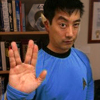 eruthros: Grant Imahara from Mythbusters wearing a Star Trek TOS science uniform and Vulcan ear extensions (Mythbusters - grant in a star trek unifo)