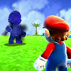 eruthros: Super Mario Galaxy: Mario staring at his creepy cosmic twin (Mario and Cosmic Mario)