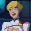 dizmo: Superman/Batman: Public Enemies screenshot.  Power Girl making a disgusted face. (comics: peej euurgh)