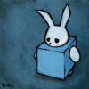 foxfirefey: A sad bunny with the body of a box, in blue. (blue)