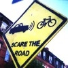 "hopefulnebula: ""Scare the Road"" road sign (Scare the Road)"