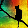 hopefulnebula: Black cat silhouette on a rainbow background (Rainbowkitty)