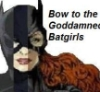 "ravenous_raven: Combo headshot of Cass Cain, Steph Brown, and Babs Gordon, the 3 Batgirls, ""Bow to the Goddammned Batgirls"" in a corner (Default)"