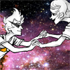 chronologicalimplosion: Roxy<3Dirk (Cat in the hat in SPACE)