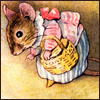 omimouse: Beatirx Potter mouse with a wicker basket on her arm (Domestic)