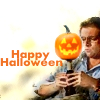 paian: Daniel balancing a pumpkin on a beer botle, caption 'happy Halloween' (halloween daniel by txduck)