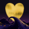 tsukinofaerii: A heart-shaped moon over Halloween Town (Halloween Town Heart Moon)