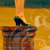 truelove: A woman in high heels on a chimney (witchy, fashion, heels)