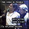 "eruthros: Luke and Han in Jabba's palace, captioned ""this could be trouble"" ""we'd better make a fort"" ""I'll get some pillows"" (SW - make a fort)"