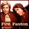 "eruthros: Battlestar Galactica 1978 promo picture, captioned ""first fandom"" (BSG - first fandom Starbuck Apollo)"