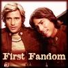 "eruthros: Battlestar Galactica 1978 promo picture, captioned ""first fandom"" (BSG - first fandom Starbuck Apollo)"