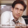 "eruthros: X-Files: Mulder in glasses, text ""sexier in glasses"" (XF - Mulder sexier in glasses)"