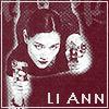 """eruthros: Li Ann from Once a Thief with two guns, text """"Li Ann"""" (OaT - Li Ann  red)"""