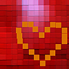 omens: yellow heart on red (pom heart)