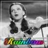 "eruthros: Wizard of Oz: Dorothy in black and white, text ""rainbow"" in rainbow colors (Dorothy singing rainbow)"