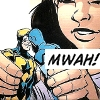 "thirdblindmouse: Milagro makes her Blue Beetle and Booster Gold action figures kiss: ""Mwah!"" (slasher doin' her thing (DC))"