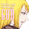 inkstone: Claymore's Galatea; text: Hello, my name is god (hello)