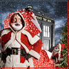 eruthros: Doctor Who: the TARDIS in wrapping paper and a masked Santa (DW - christmasy)