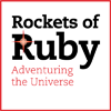 "rocketsofruby: ""Rockets of Ruby"" with star wordmark and ""Adventuring the Universe"" in red, on white with a red border (Default)"