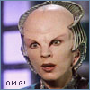 "eruthros: Delenn from Babylon 5 with a startled expression and the text ""omg!"" (FF Zoe two guns hard mix red)"
