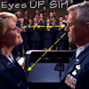 "thothmes: ""Eyes up, Sir!""  Jack's sightline is on her bust, hers on his eyes (Eyes Up Sir!)"