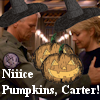 thothmes: Jack & Sam in Witch hats, pumpkins between them (Niiice Pumpkins Carter)