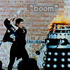 "darchildre: ace beating a dalek with a baseball bat.  text:  ""*boom*"" (that nitro-9 you're not carrying)"