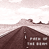 "darchildre: a road leading straight to a distant horizon.  text:  ""path of the beam"" (road to faraway)"