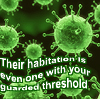 "darchildre: green ultra magnified bacteria.  text:  ""their habitation is even one with your guarded threshold."" (what man knows kadath?)"