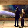darchildre: ninth doctor and rose viewing earth from space (...and i feel fine)