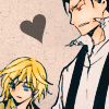 ccarlet: coloredm manga panel kurogane glancing back at fai with a heart in-between them ([trc] otp otp otp)