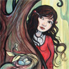 owlishdreams: picture (painting) of girl hiding behind a tree (pic#355979)