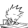 orm: calvin writing or drawing something, doubtless something awesome (DILIGENCE: calvin)