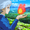 yati: Sophie looking at Calcifer, from Miyazaki's Howl's Moving Castle (burn bright)